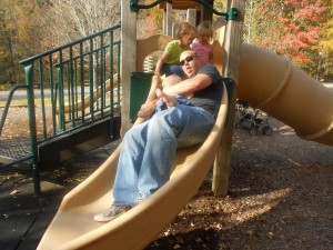 Daddy slide day.