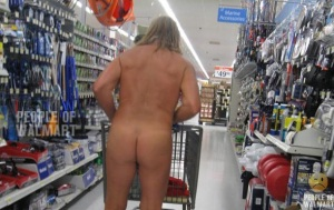 No shoes, no shirt, no clue how to approach the bare ass shopper.