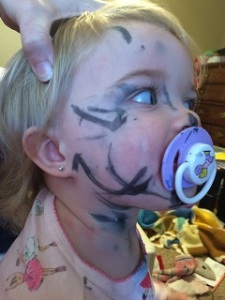 They marker just isn't wide enough for effective face coverage. Let's work on that Crayola.