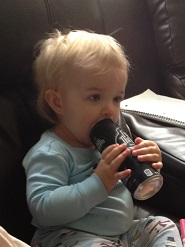 Sure kid... Lick the top of a Full Throttle. Everyone relax it isn't opened yet. She gets a straw for that.