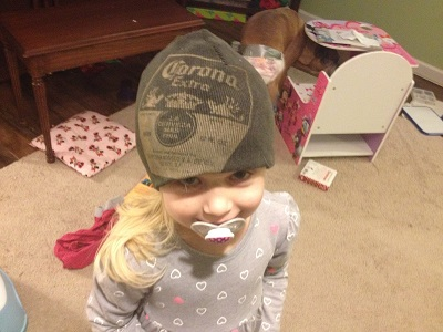 My kid will never wear a Corona cap while still using a paci at age four.
