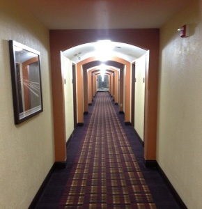 Horror movie hallway.